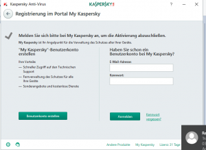 Kaspersky Benutzerkonto anlegen