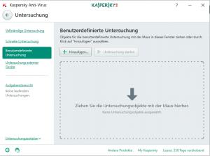 Kaspersky benutzerdefinierte Untersúchung